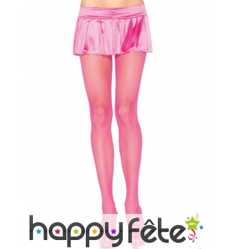Paire de collants résille rose fluo