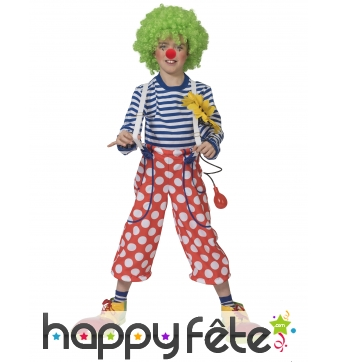 Pantalon de clown rouge à pois blancs pour enfant