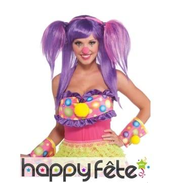 Perruque de clown à couettes, violette