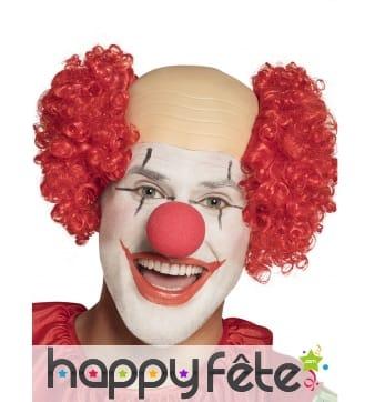 Perruque de clown crâne rasé avec cheveux rouges