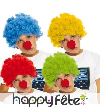 Perruque de clown unie pour enfant