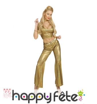 Pantalon disco doré holographique