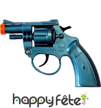Pistolet de détective en plastique bleu