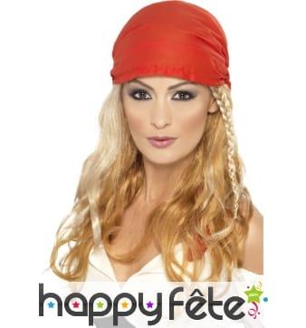 Perruque de femme pirate avec bandana
