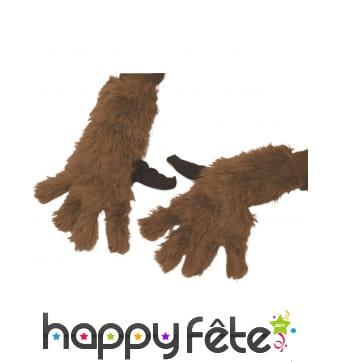 Paire de gants de Rocket Raccoon à poils, adulte