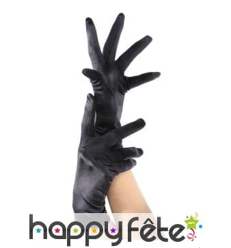 Paire de gants noirs élastiques satinés