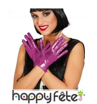 Paire de gants rose métallisé pour adulte