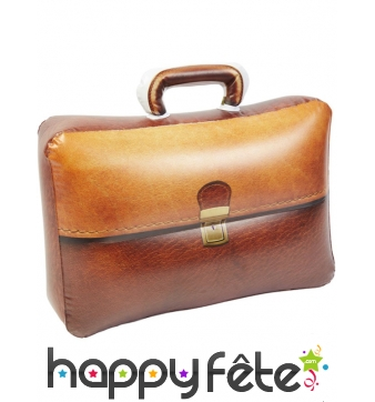 Porte document gonflable marron de 32 cm