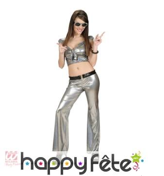 Pantalon disco holographique argenté