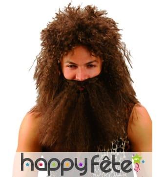 Perruque d'homme des cavernes avec barbe marron
