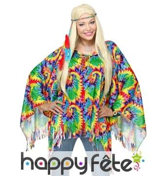 Poncho de hippie coloré pour adulte avec bandeau