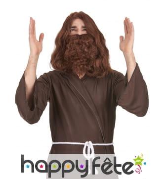 Perruque de Jésus avec barbe chatain