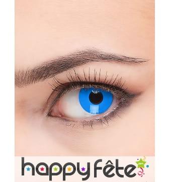 Paire de lentilles bleues unies
