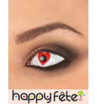 Paire de lentilles coeur rouge
