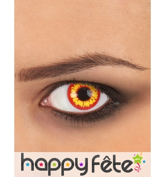 Paire de lentilles jaunes et rouges