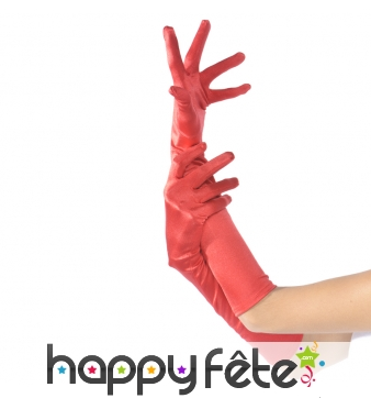Paire de longs gants rouges élastiques satinés