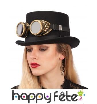 Paire de lunettes steampunk noires et dorées