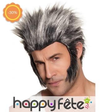 Perruque de loup-garou grise avec rouflaquettes