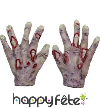 Paire de mains de zombie en latex