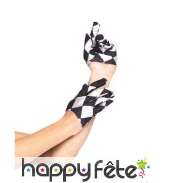 Paire de mini gants arlequin noir et blanc