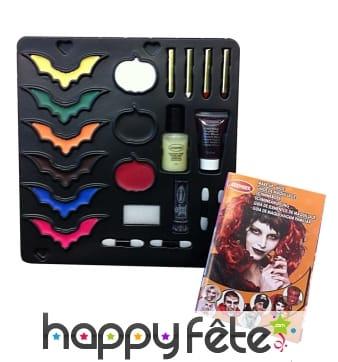 Palette de maquillage d'halloween et accessoires
