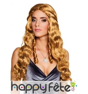 Perruque du Moyen âge longs cheveux cuivrés femme