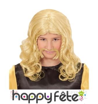Perruque de petit gaulois blonde pour enfant