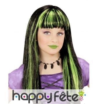 Perruque de petite sorcière noire mèches vertes