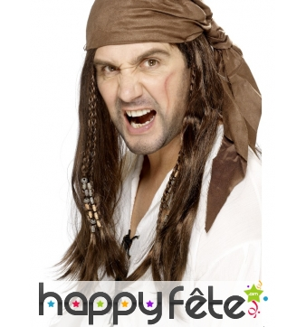 Perruque de pirate avec foulard et tresses