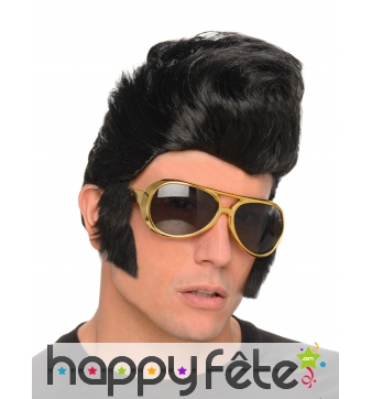 Perruque de Rockeur avec lunettes rouflaquettes