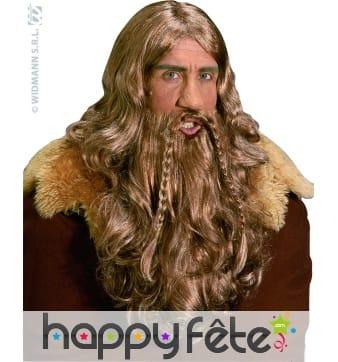 Perruque de roi vicking avec barbe et moustache