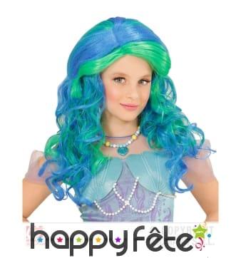 Perruque de sirène turquoise émeraude pour enfant