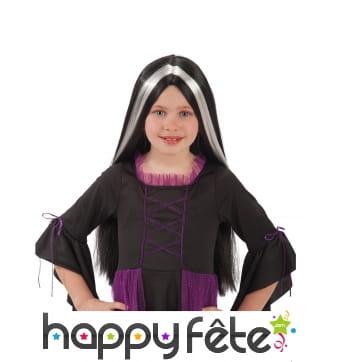 Perruque de sorcière noir et blanc pour enfant