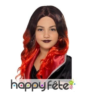 Perruque de sorcière noire et rouge pour enfant