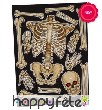 Planche de stickers squelette, 30 x 40 cm