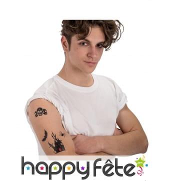 Planche de tatouages halloween noirs