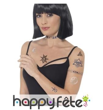 Planche de tatouages symboles occultes
