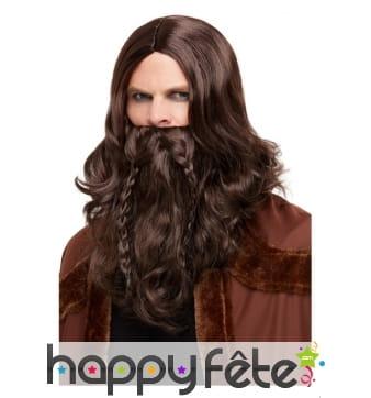 Perruque et barbe de viking pour homme