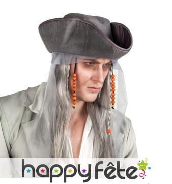 Perruque et chapeau de pirate fantôme