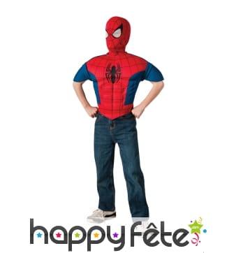 Plastron et cagoule de spiderman pour enfant