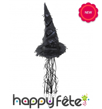 Pinata en forme de chapeau de sorcière noir