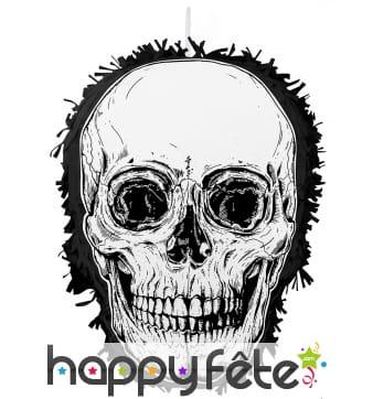 Piñata en forme de crâne noir et blanc, 35x25cm