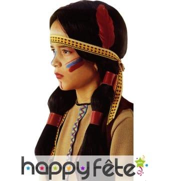 Perruque enfant indienne avec bandeau et plume