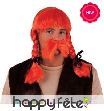 Perruque et moustache orange de Obélix