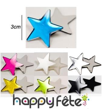 Petites étoiles miroirs de 3cm de côté