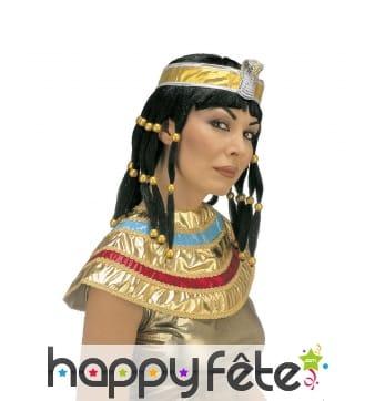 Perruque égyptienne noire avec bandeau serpent