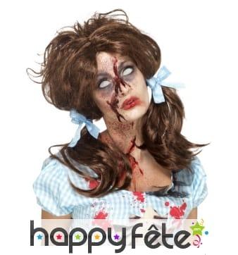 Perruque fille de la campagne zombie avec couettes
