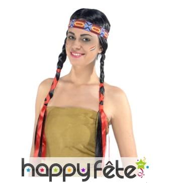 Perruque femme indienne avec double tresses