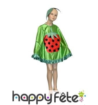 Poncho fraise pour enfant