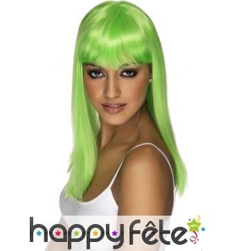 Perruque fluo vert avec frange